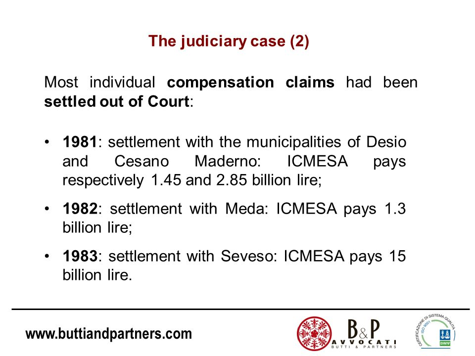www.buttiandpartners.com 1981: settlement with the municipalities of Desio and Cesano Maderno: ICMESA pays respectively 1.45 and 2.85 billion lire; 19