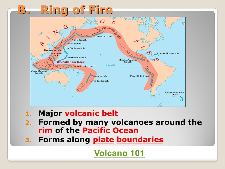 B.Ring of Fire 1. Major volcanic belt 2. Formed by many volcanoes around the rim of the Pacific Ocean 3. Forms along plate boundaries Volcano 101