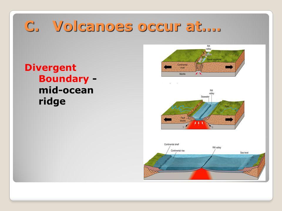 C.Volcanoes occur at…. Divergent Boundary - mid-ocean ridge