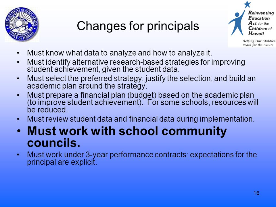 16 Changes for principals Must know what data to analyze and how to analyze it. Must identify alternative research-based strategies for improving stud