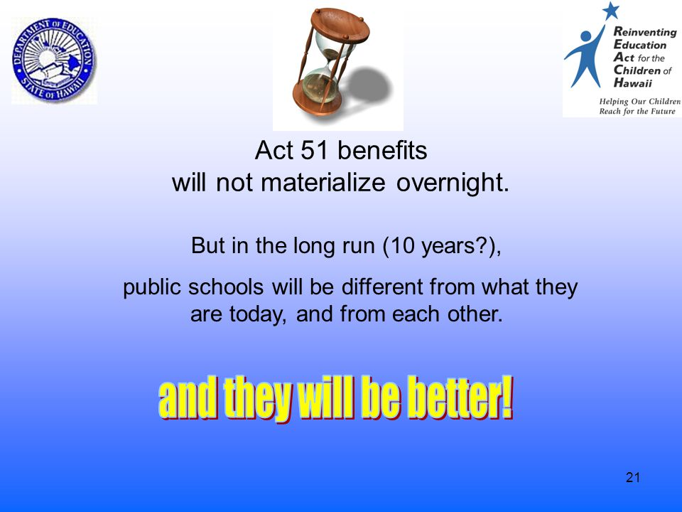21 Act 51 benefits will not materialize overnight. But in the long run (10 years?), public schools will be different from what they are today, and fro