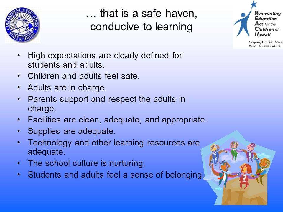 4 … that is a safe haven, conducive to learning High expectations are clearly defined for students and adults. Children and adults feel safe. Adults a