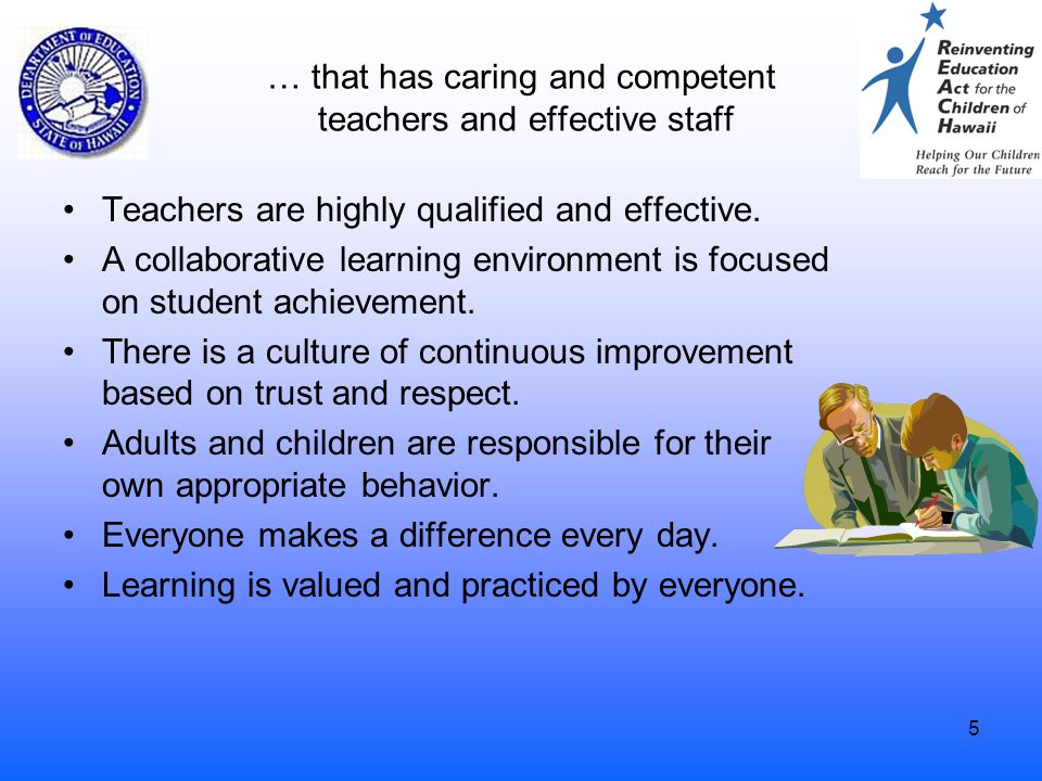 5 … that has caring and competent teachers and effective staff Teachers are highly qualified and effective. A collaborative learning environment is fo