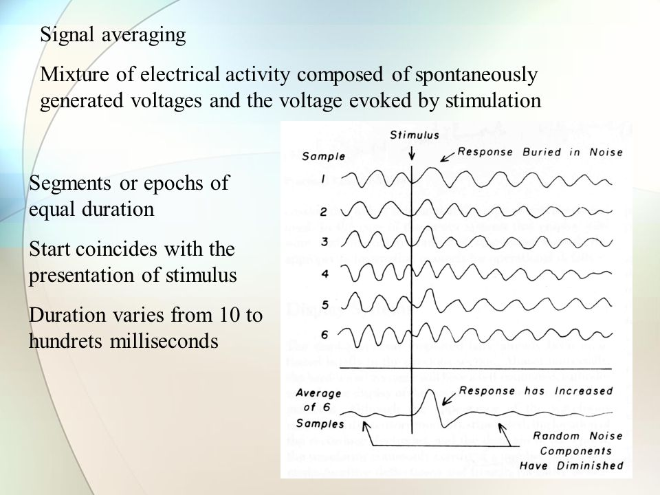 Signal averaging Mixture of electrical activity composed of spontaneously generated voltages and the voltage evoked by stimulation Segments or epochs of equal duration Start coincides with the presentation of stimulus Duration varies from 10 to hundrets milliseconds