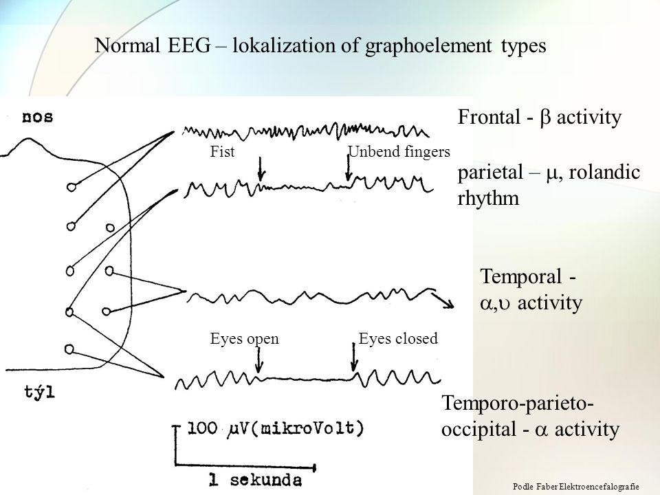 Normal EEG – lokalization of graphoelement types Frontal -  activity parietal – , rolandic rhythm Temporal - ,  activity Temporo-parieto- occipital -  activity FistUnbend fingers Eyes openEyes closed Podle Faber Elektroencefalografie