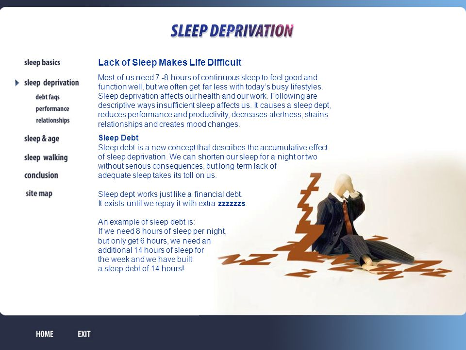 Sleep debt influences our daytime functioning Some of the health problems resulting from sleep debt are: high blood pressure, diabetes, stroke, sleep apnea, obesity, headaches and digestive problems.