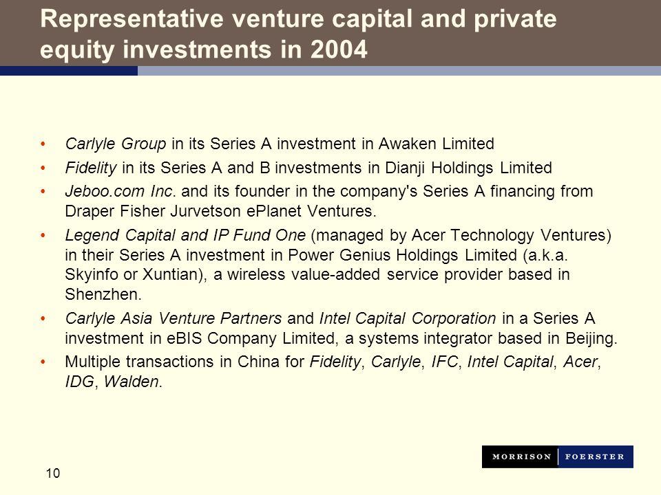 10 Representative venture capital and private equity investments in 2004 Carlyle Group in its Series A investment in Awaken Limited Fidelity in its Series A and B investments in Dianji Holdings Limited Jeboo.com Inc.