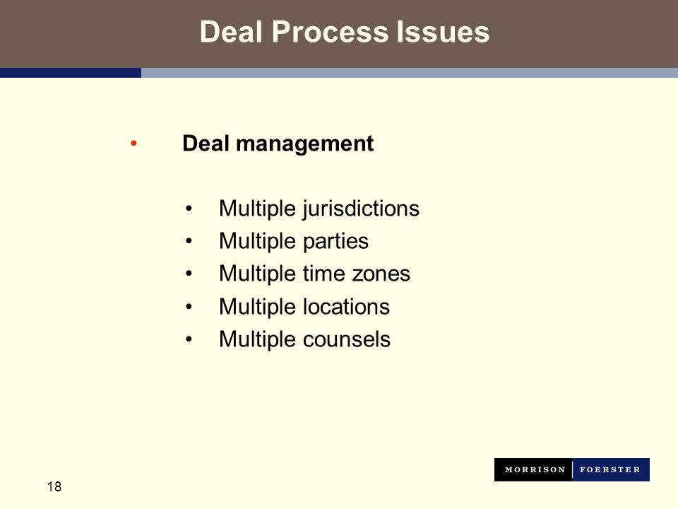 18 Deal Process Issues Deal management Multiple jurisdictions Multiple parties Multiple time zones Multiple locations Multiple counsels