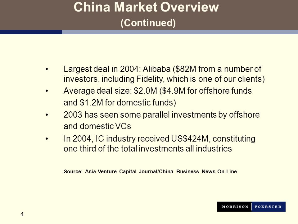 4 China Market Overview (Continued) Largest deal in 2004: Alibaba ($82M from a number of investors, including Fidelity, which is one of our clients) Average deal size: $2.0M ($4.9M for offshore funds and $1.2M for domestic funds) 2003 has seen some parallel investments by offshore and domestic VCs In 2004, IC industry received US$424M, constituting one third of the total investments all industries Source: Asia Venture Capital Journal/China Business News On-Line