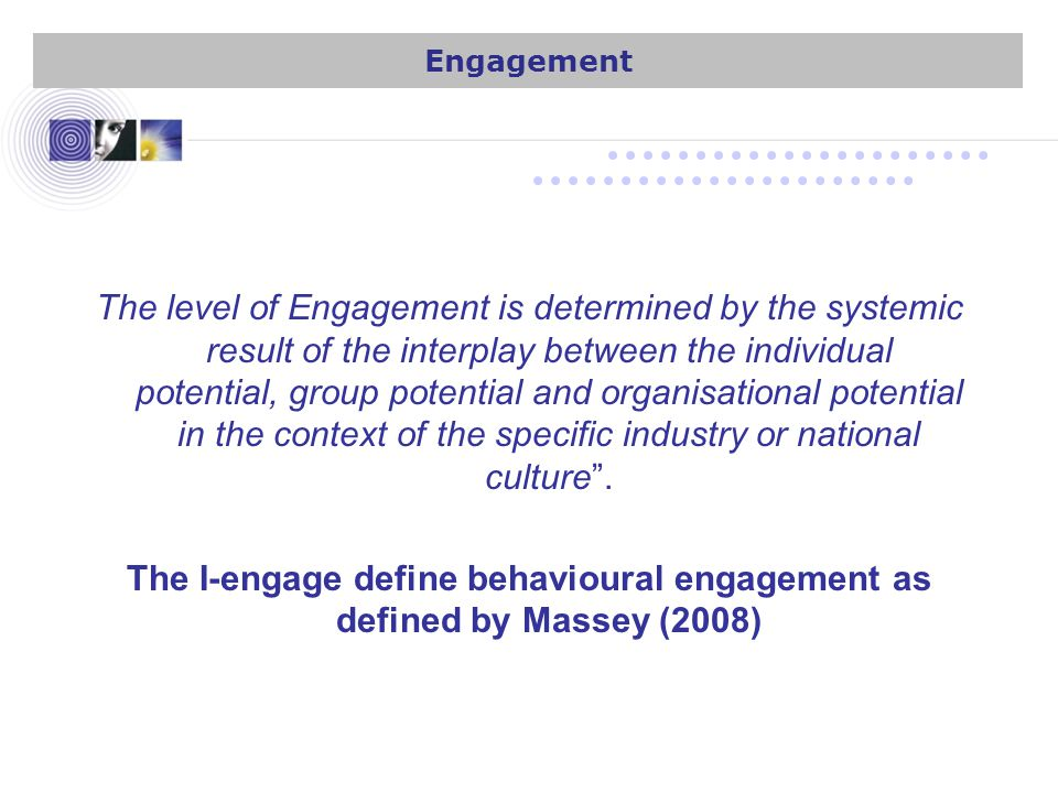The level of Engagement is determined by the systemic result of the interplay between the individual potential, group potential and organisational potential in the context of the specific industry or national culture .