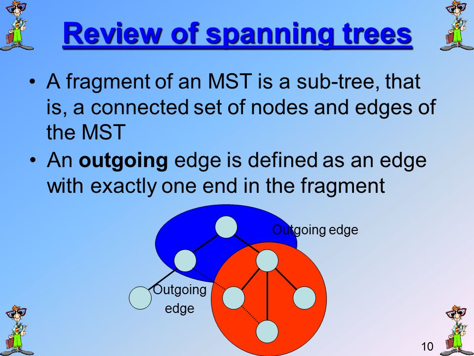 9 Lecture Outline Problem description The distinct weights demand 2.Review of spanning trees PProperties of spanning trees KKruskal's algorithm – reminder.