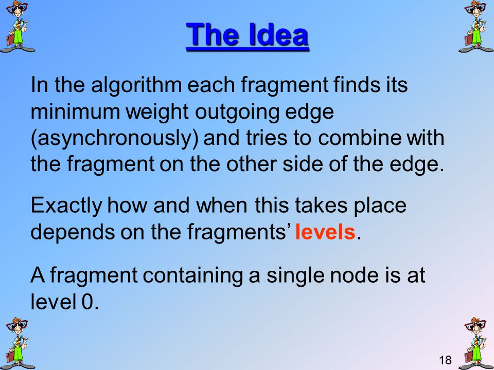 17 Lecture Outline Problem description The distinct weights demand Review of spanning trees Properties of spanning trees Kruskal's algorithm – reminder.