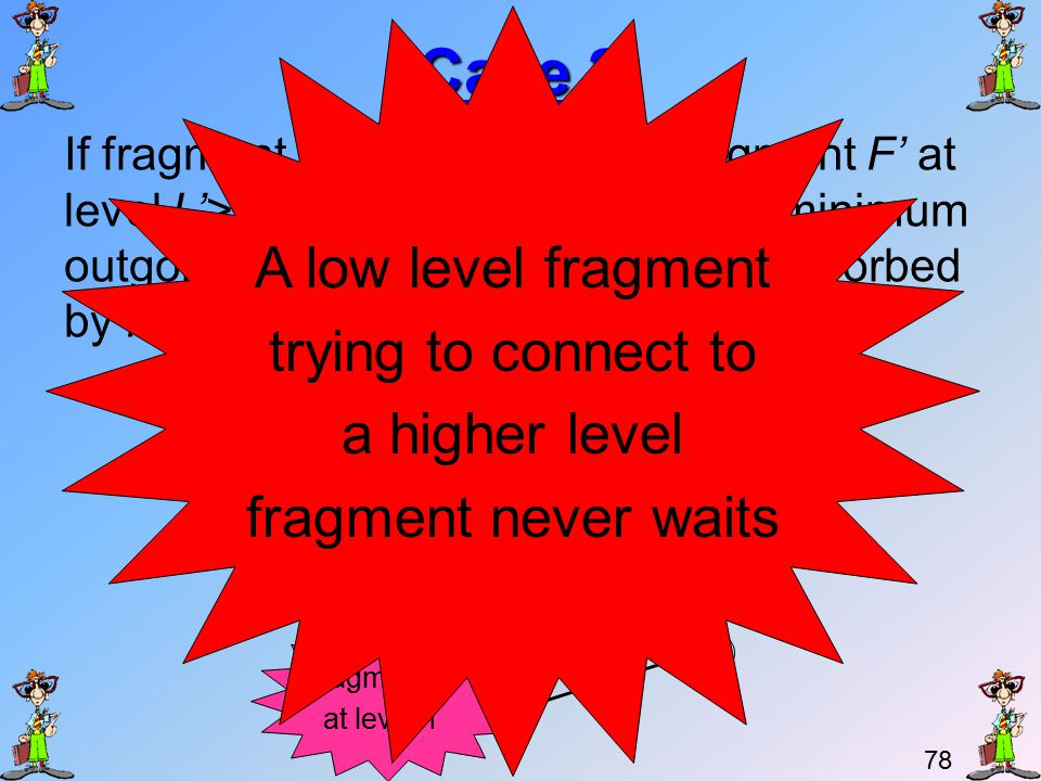 77 An overdue explanation We said before that a lower level fragment never waits on a higher level fragment and that a higher level fragment can be made to wait by a lower level fragment.