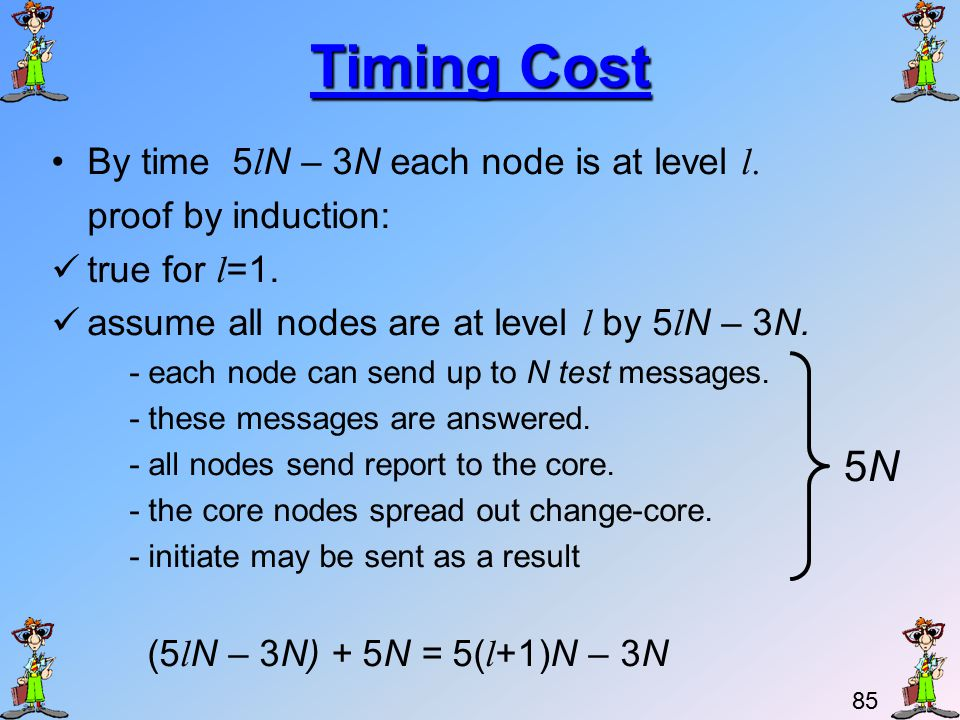 84 Timing Cost If all nodes awaken originally, time complexity is O(N logN).