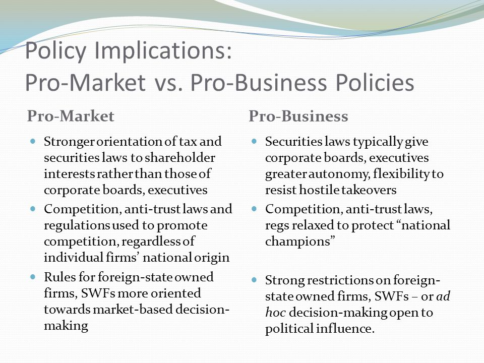 Policy Implications: Pro-Market vs.