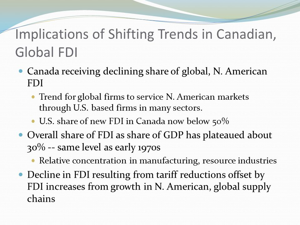 Implications of Shifting Trends in Canadian, Global FDI Canada receiving declining share of global, N.