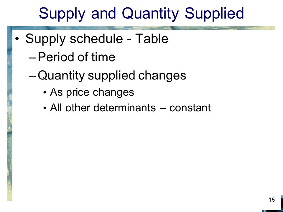 Supply and Quantity Supplied Supply schedule - Table –Period of time –Quantity supplied changes As price changes All other determinants – constant 15