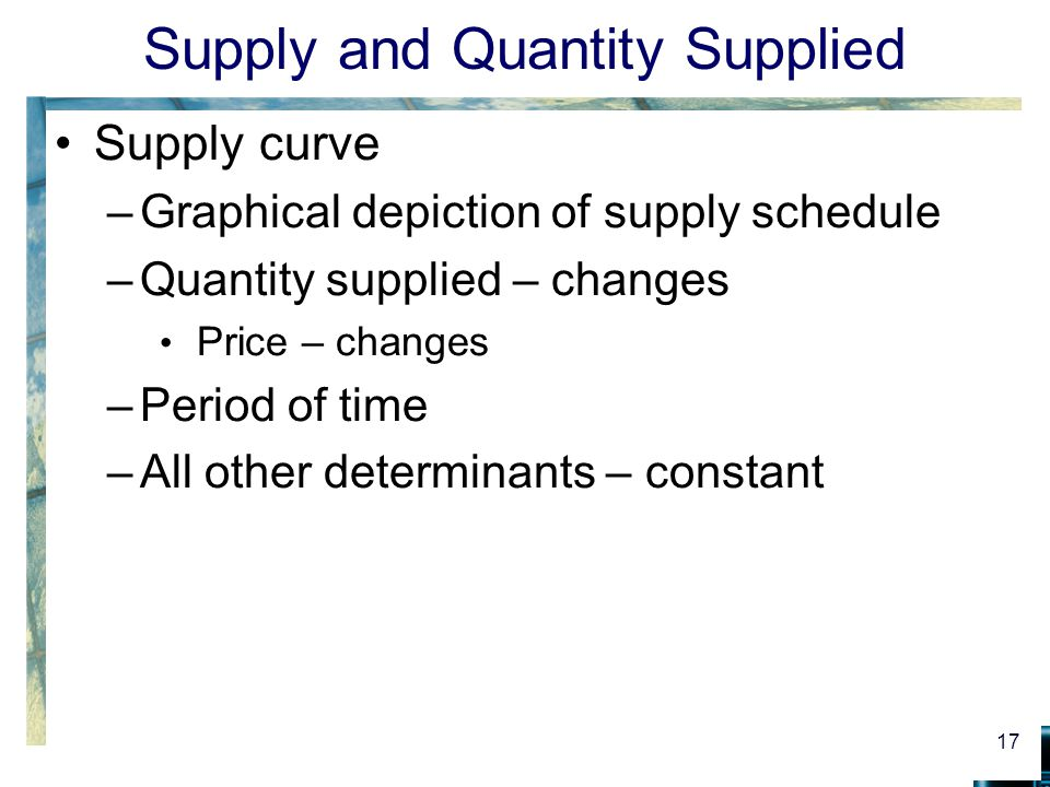 Supply and Quantity Supplied Supply curve –Graphical depiction of supply schedule –Quantity supplied – changes Price – changes –Period of time –All other determinants – constant 17