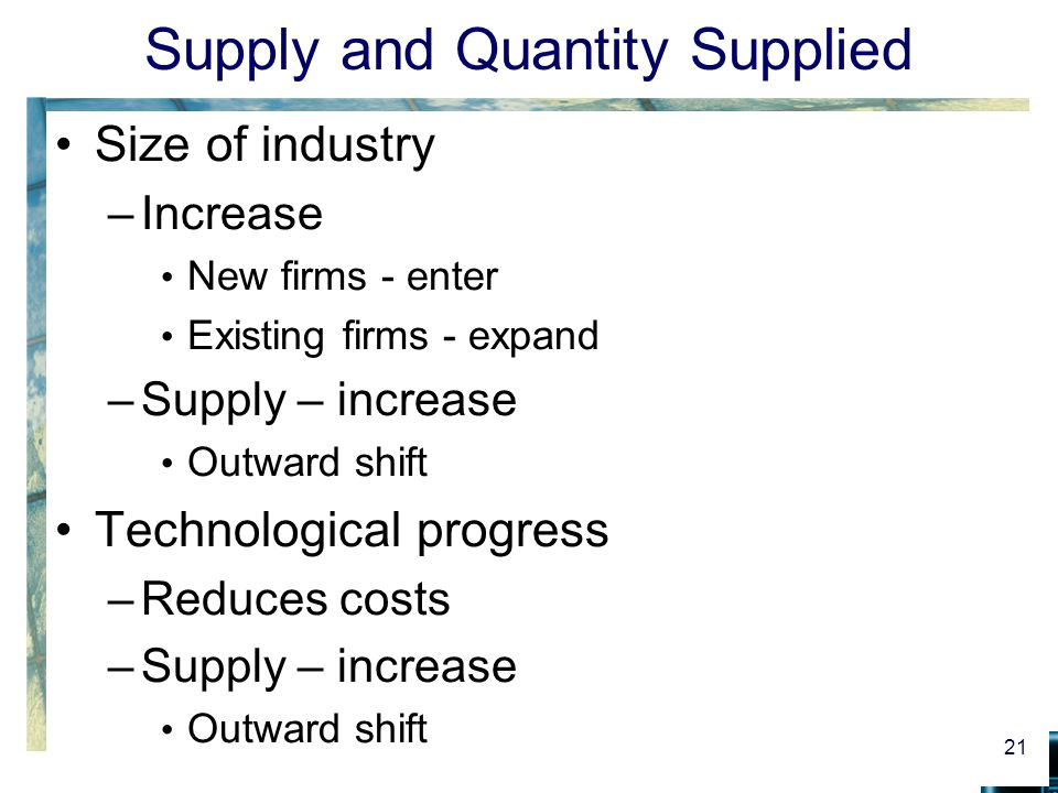 Supply and Quantity Supplied Size of industry –Increase New firms - enter Existing firms - expand –Supply – increase Outward shift Technological progress –Reduces costs –Supply – increase Outward shift 21