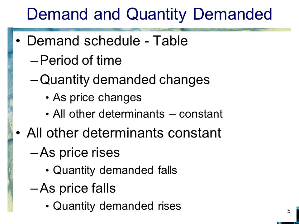 Demand and Quantity Demanded Demand schedule - Table –Period of time –Quantity demanded changes As price changes All other determinants – constant All other determinants constant –As price rises Quantity demanded falls –As price falls Quantity demanded rises 5