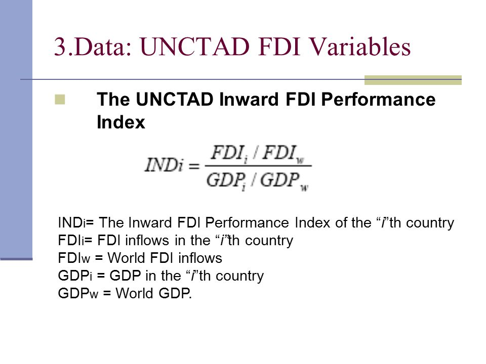 The UNCTAD Inward FDI Potential Index is the unweighted average of the scores on twelve variables (Independent Variables) for each country.