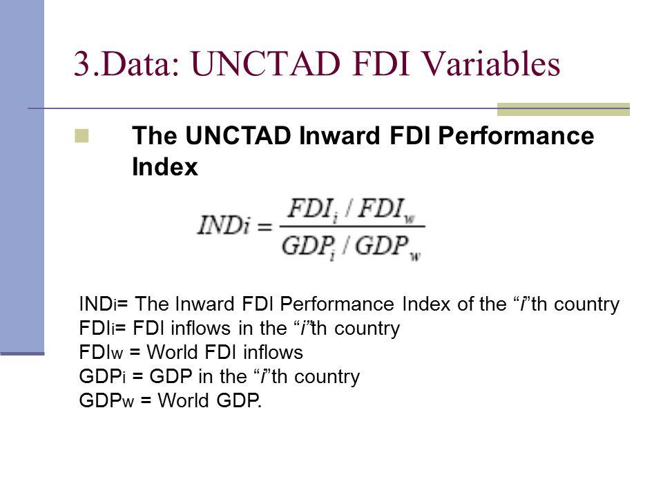 3.Data: UNCTAD FDI Variables IND i = The Inward FDI Performance Index of the i th country FDI i = FDI inflows in the i th country FDI w = World FDI inflows GDP i = GDP in the i th country GDP w = World GDP.