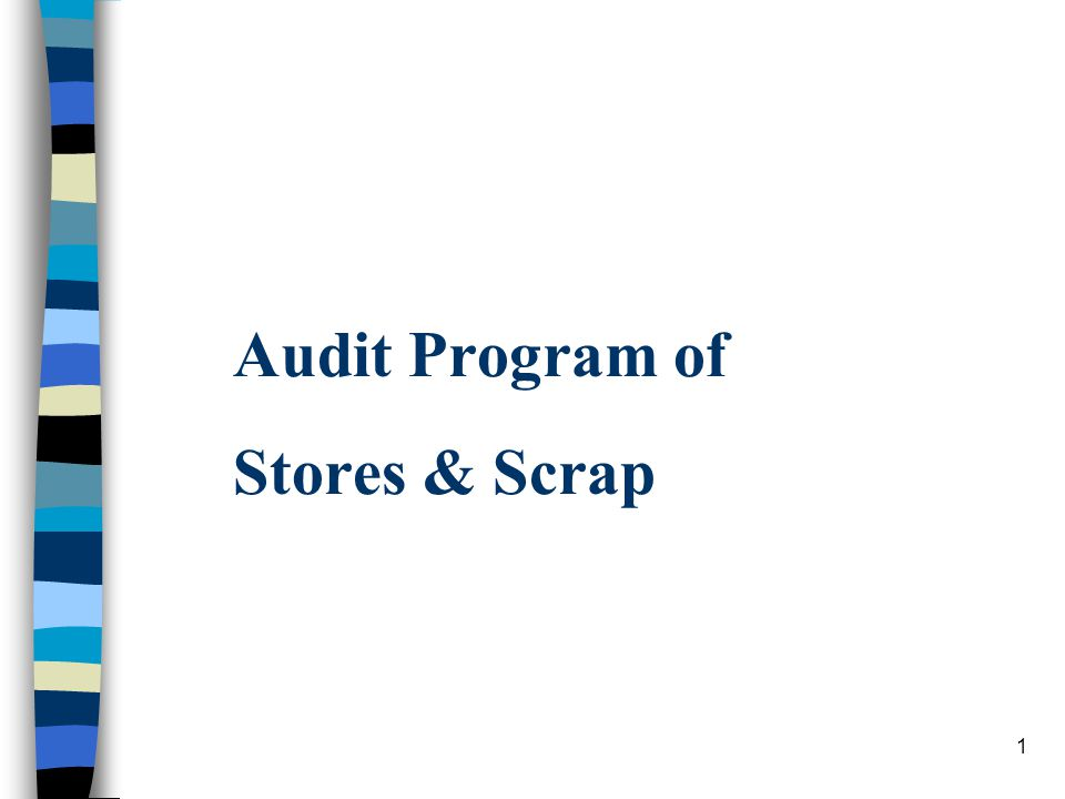 1 Audit Program Of Stores & Scrap. 2 Index S. No.Contentspage No
