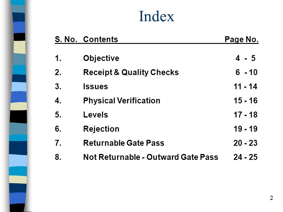 2 Index S. No.ContentsPage No. 1. Objective 4 - 5 2.