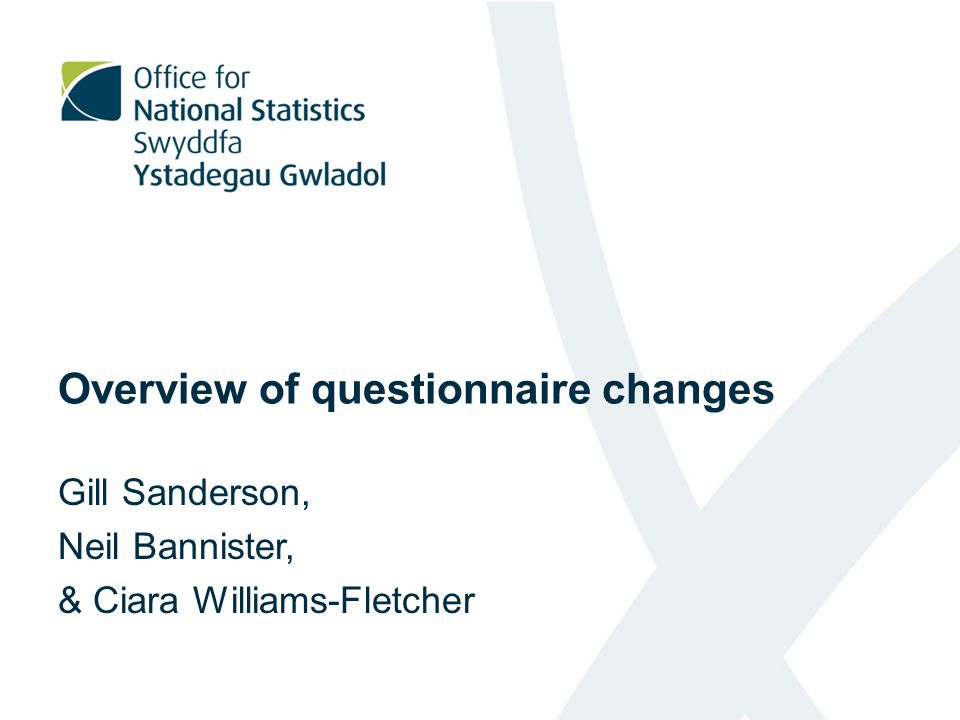 Overview of questionnaire changes Gill Sanderson, Neil Bannister, & Ciara Williams-Fletcher