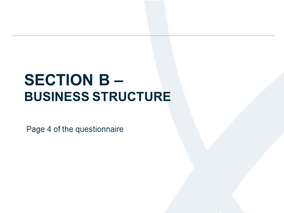 SECTION B – BUSINESS STRUCTURE Page 4 of the questionnaire