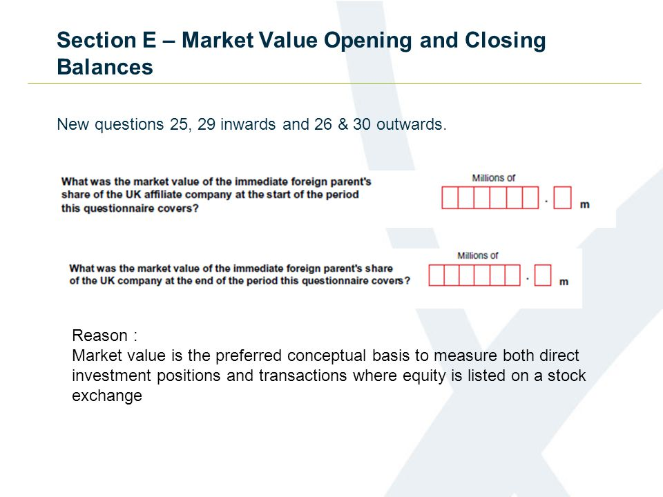 Section E – Market Value Opening and Closing Balances New questions 25, 29 inwards and 26 & 30 outwards.