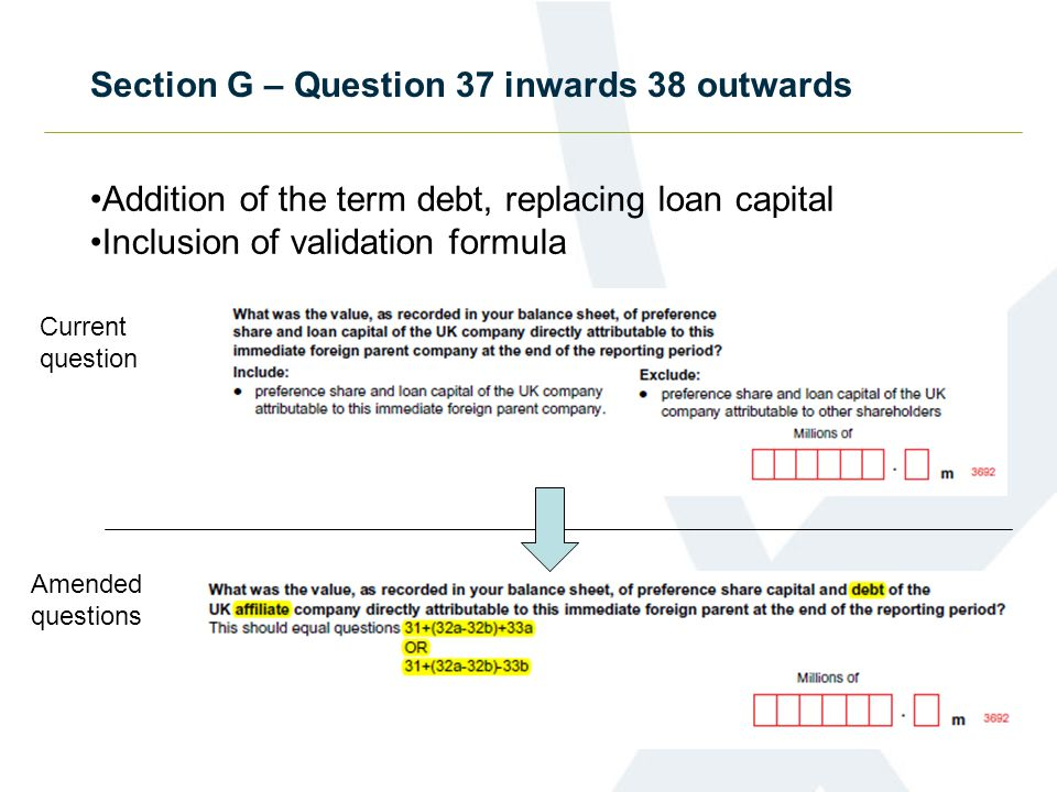 Section G – Question 37 inwards 38 outwards Addition of the term debt, replacing loan capital Inclusion of validation formula Current question Amended questions