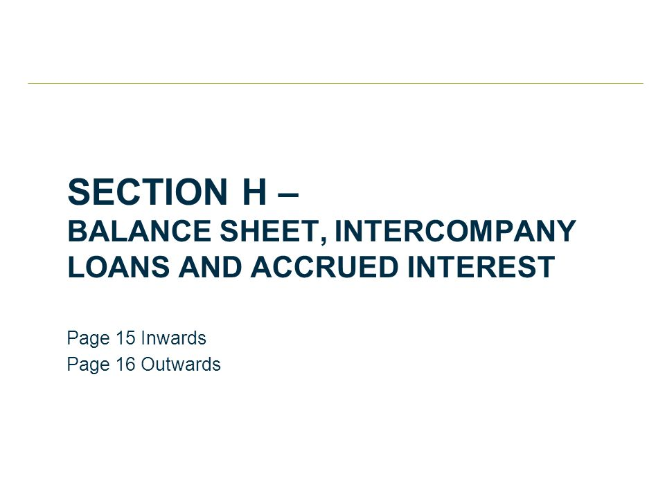 SECTION H – BALANCE SHEET, INTERCOMPANY LOANS AND ACCRUED INTEREST Page 15 Inwards Page 16 Outwards