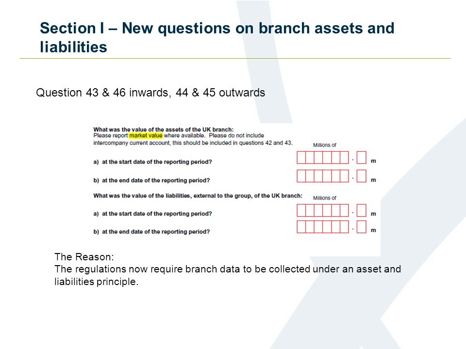 Section I – New questions on branch assets and liabilities Question 43 & 46 inwards, 44 & 45 outwards The Reason: The regulations now require branch data to be collected under an asset and liabilities principle.