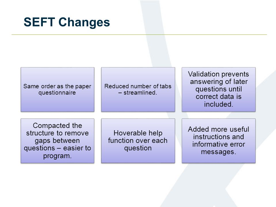SEFT Changes Same order as the paper questionnaire Reduced number of tabs – streamlined.