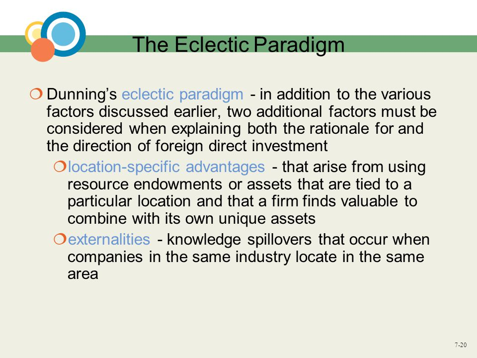 7-20 The Eclectic Paradigm  Dunning's eclectic paradigm - in addition to the various factors discussed earlier, two additional factors must be consid