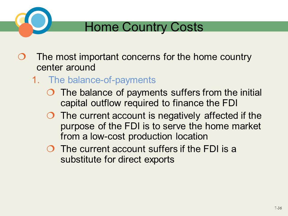 7-36 Home Country Costs  The most important concerns for the home country center around 1.The balance-of-payments  The balance of payments suffers f