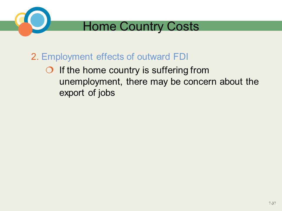 7-37 Home Country Costs 2. Employment effects of outward FDI  If the home country is suffering from unemployment, there may be concern about the expo