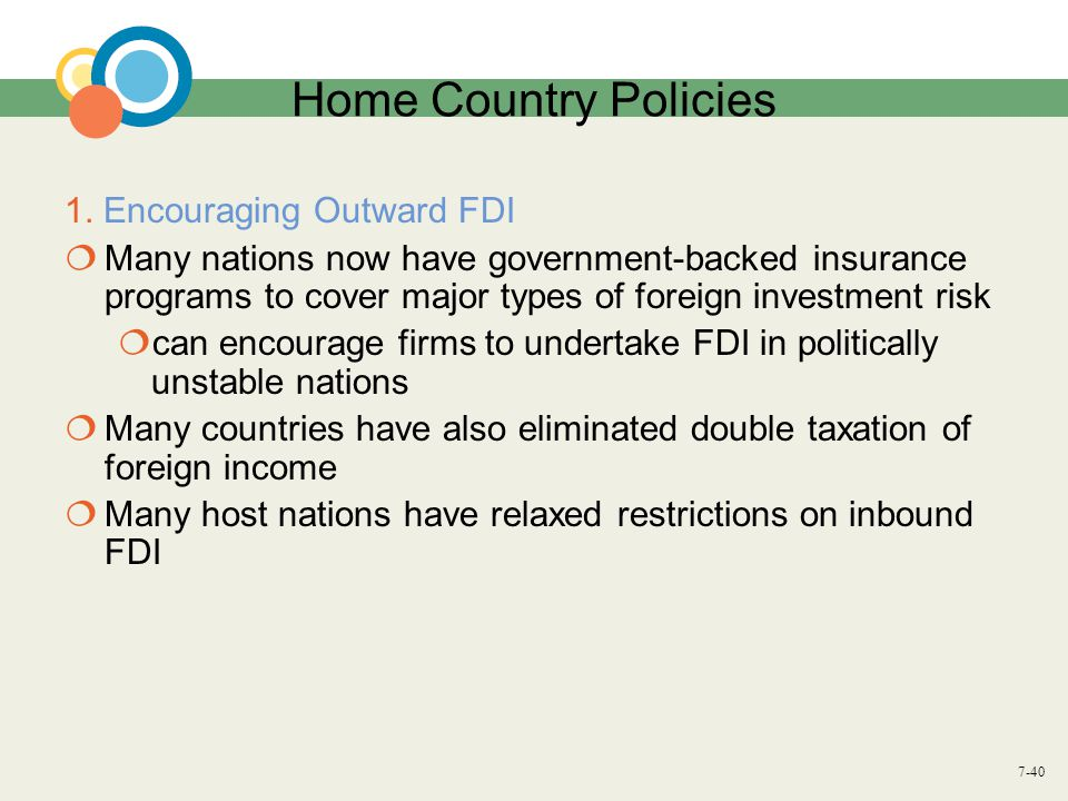 7-40 Home Country Policies 1. Encouraging Outward FDI  Many nations now have government-backed insurance programs to cover major types of foreign inv