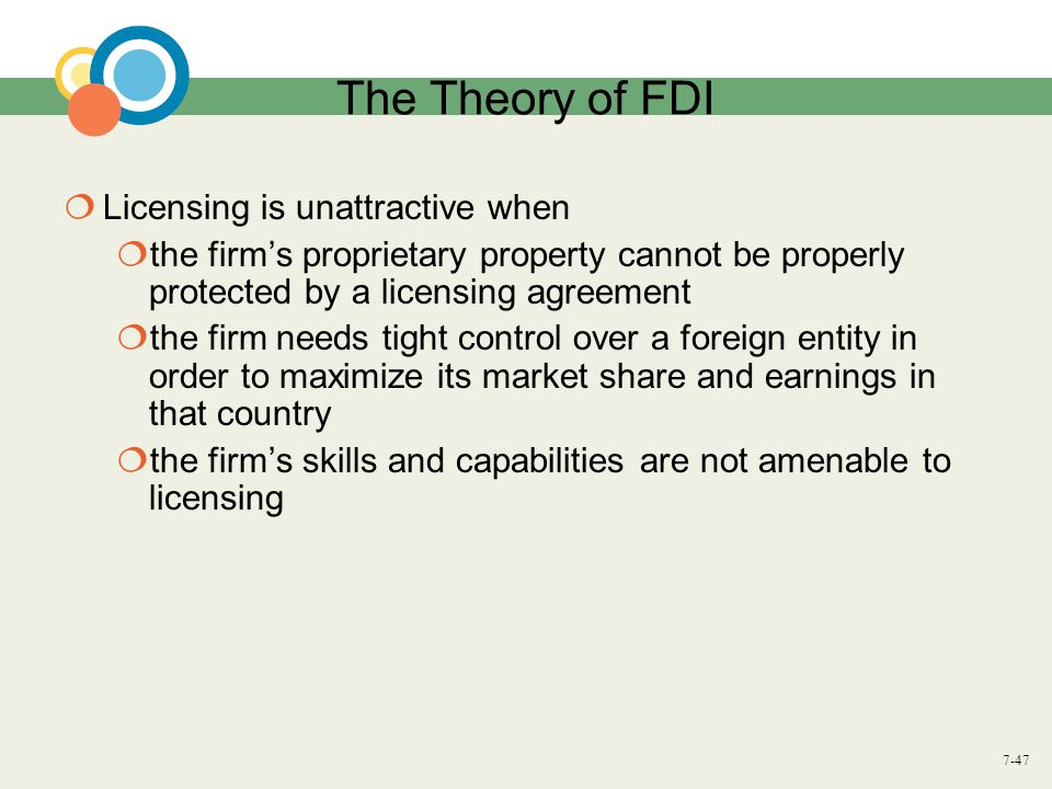 7-47 The Theory of FDI  Licensing is unattractive when  the firm's proprietary property cannot be properly protected by a licensing agreement  the