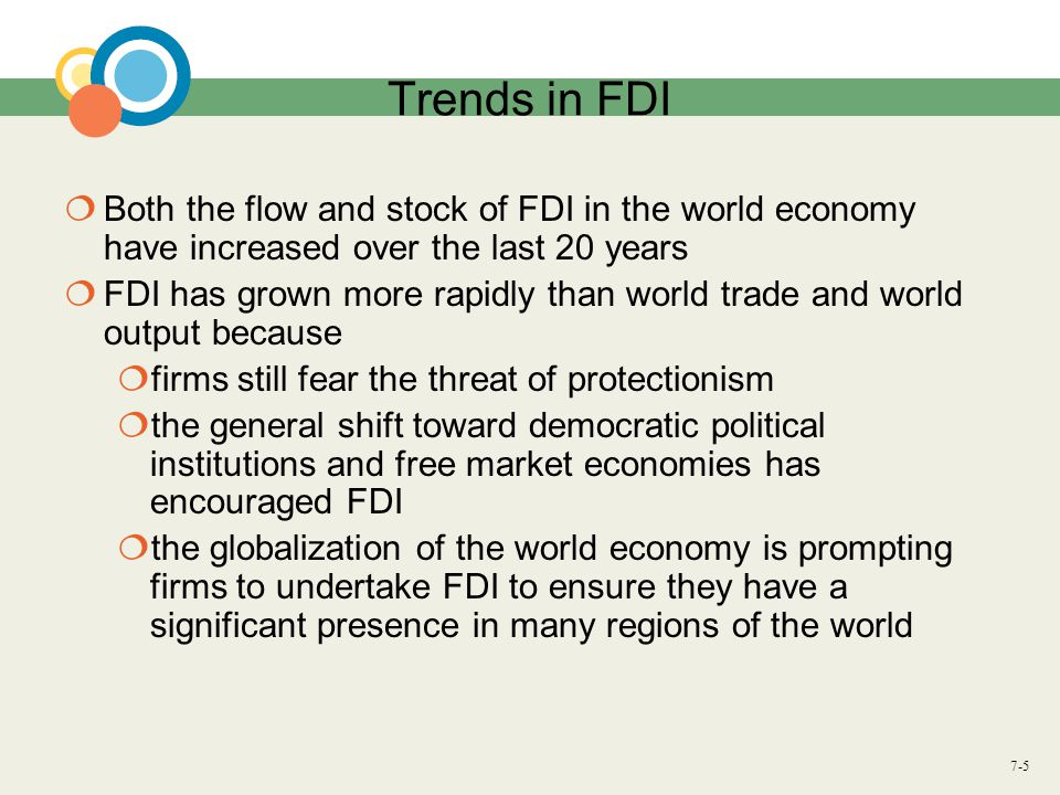 7-5 Trends in FDI  Both the flow and stock of FDI in the world economy have increased over the last 20 years  FDI has grown more rapidly than world