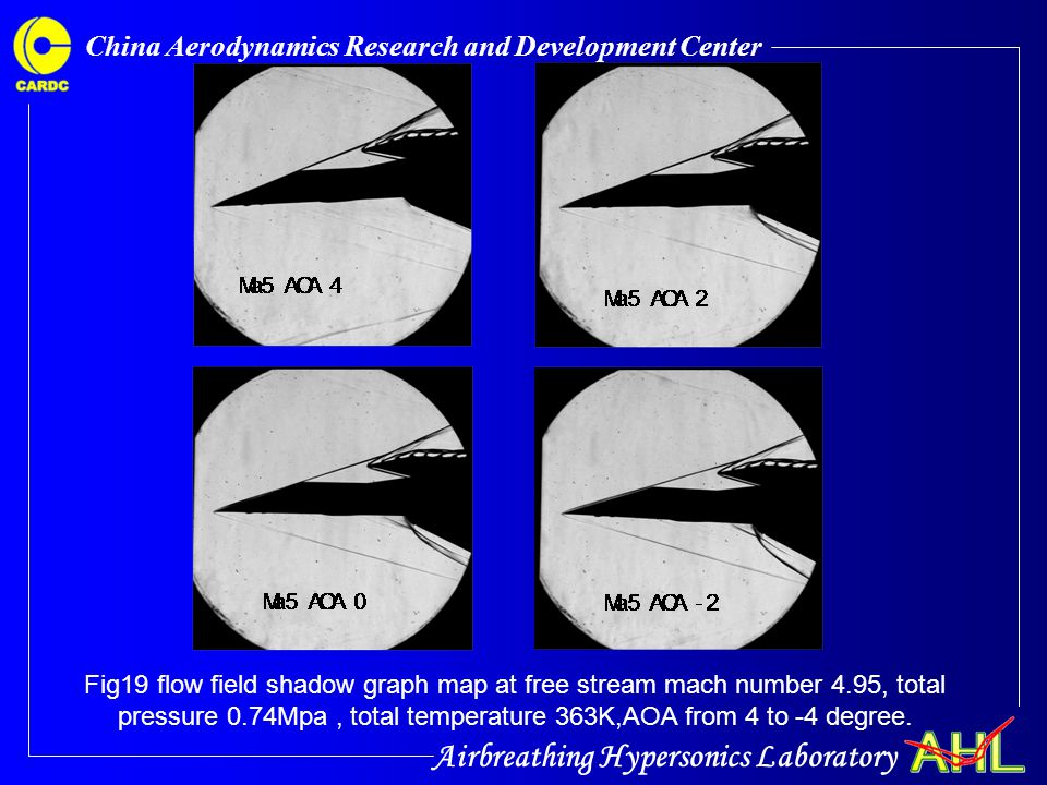 Airbreathing Hypersonics Laboratory China Aerodynamics Research and Development Center Fig19 flow field shadow graph map at free stream mach number 4.