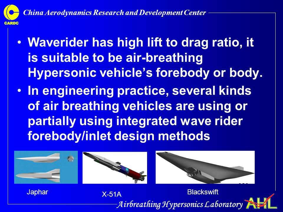 Airbreathing Hypersonics Laboratory China Aerodynamics Research and Development Center From the experimental shadow graph picture, the integrated OICWI can start smoothly from Mach number 5 to Mach number7, from AOA 4 degree to -4 degree.