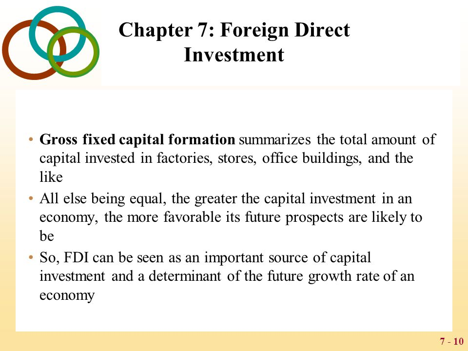 7 - 10 Chapter 7: Foreign Direct Investment Gross fixed capital formation summarizes the total amount of capital invested in factories, stores, office