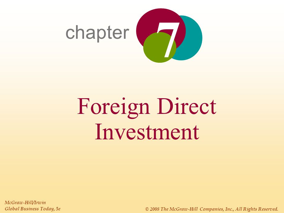 7 - 3 Chapter 7: Foreign Direct Investment INTRODUCTION Foreign direct investment (FDI) occurs when a firm invests directly in new facilities to produce and/or market in a foreign country.