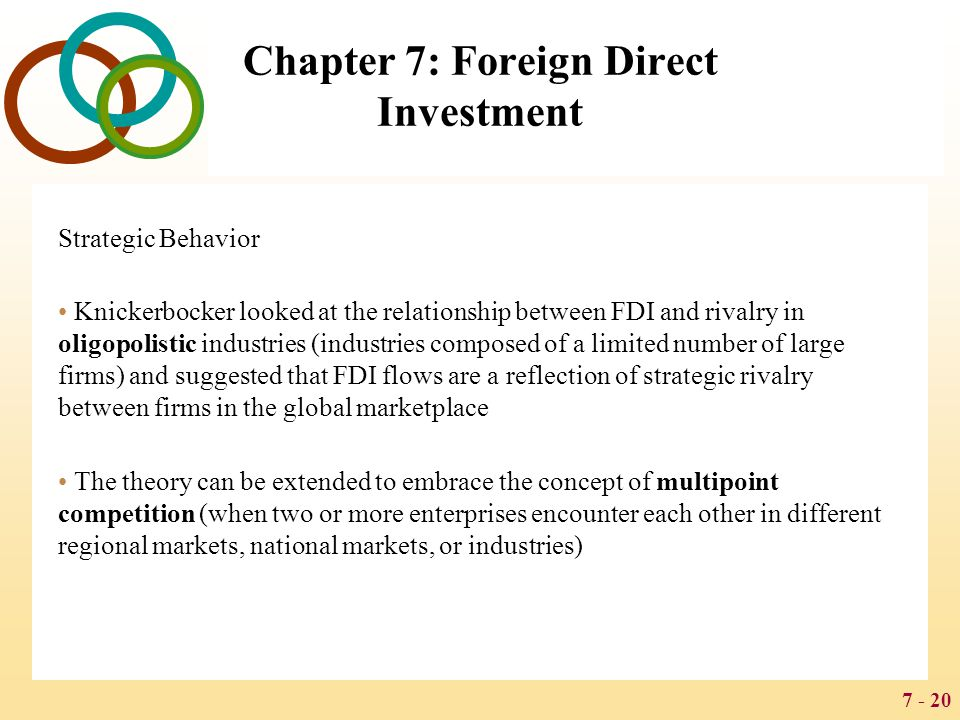7 - 20 Chapter 7: Foreign Direct Investment Strategic Behavior Knickerbocker looked at the relationship between FDI and rivalry in oligopolistic indus