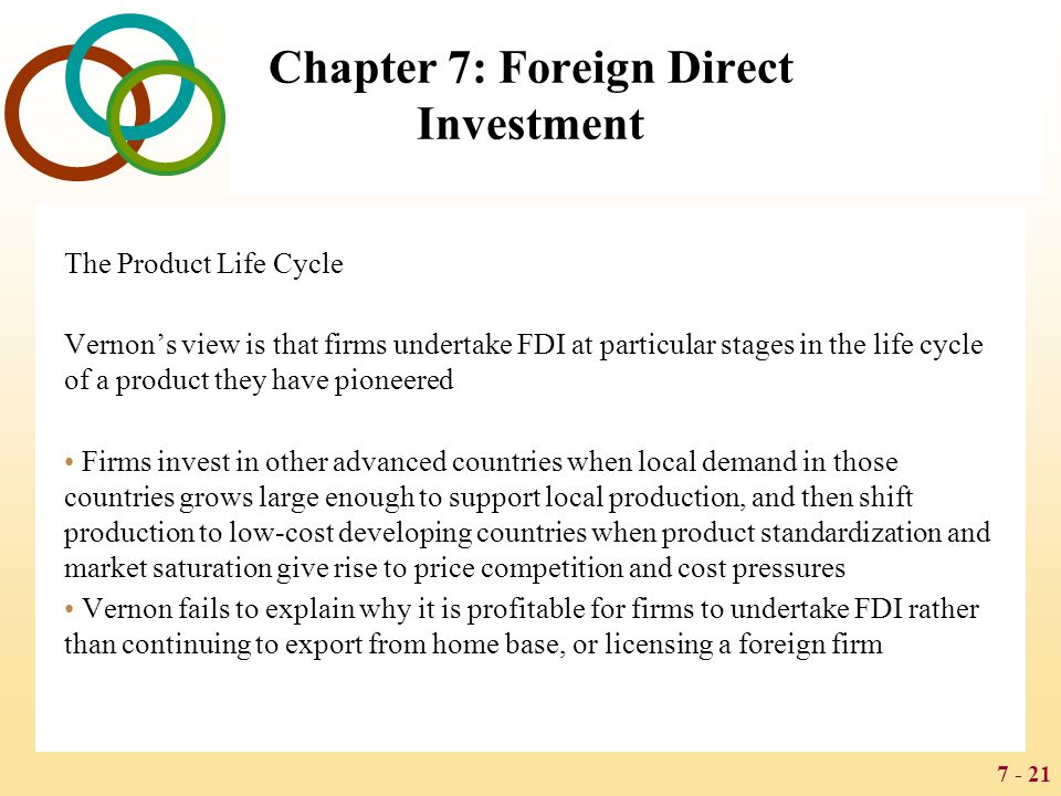 7 - 21 Chapter 7: Foreign Direct Investment The Product Life Cycle Vernon's view is that firms undertake FDI at particular stages in the life cycle of