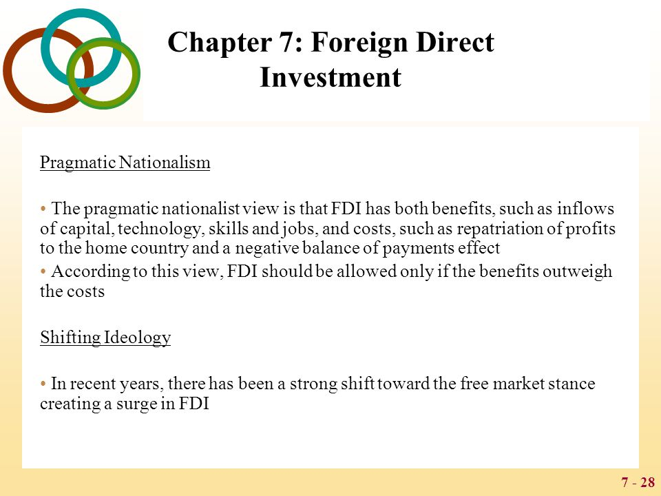 7 - 28 Chapter 7: Foreign Direct Investment Pragmatic Nationalism The pragmatic nationalist view is that FDI has both benefits, such as inflows of cap