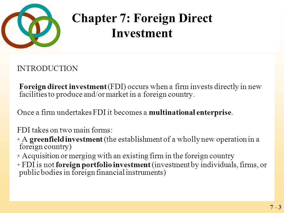 7 - 4 Chapter 7: Foreign Direct Investment Classroom Performance System A company that establishes a new operation in a foreign country has made a) An acquisition b) A merger c) A greenfield investment d) A joint venture