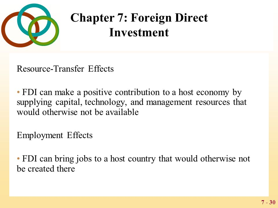 7 - 30 Chapter 7: Foreign Direct Investment Resource-Transfer Effects FDI can make a positive contribution to a host economy by supplying capital, tec